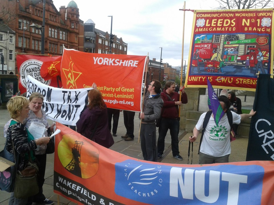 Trade Union and Communist Party banners in Leeds for May Day 2013