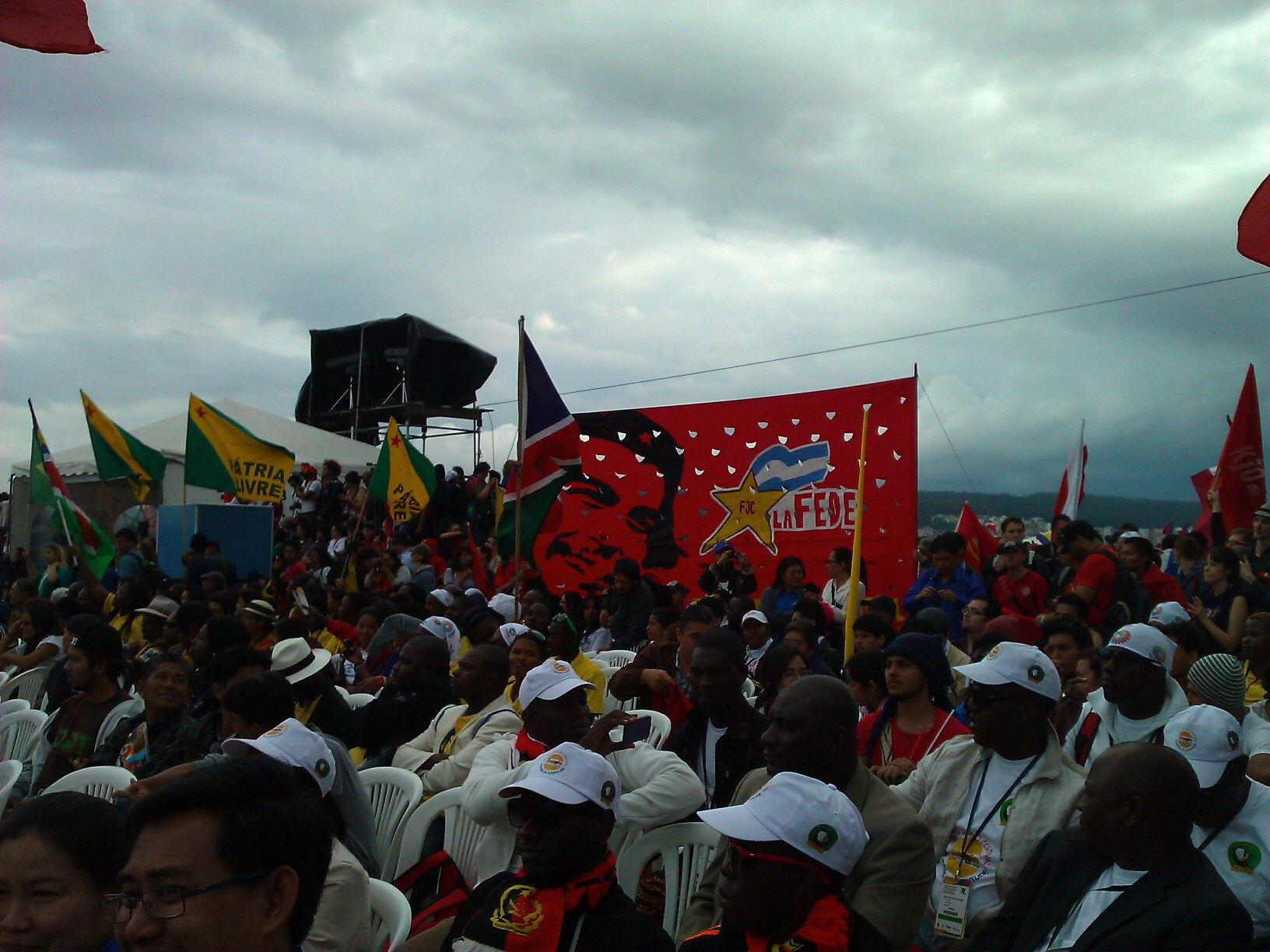 At the rally in Quito